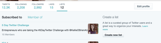 Create new Twitter list