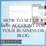 26. of #Blogfor30: How to set up a Twitter account for your business or blog