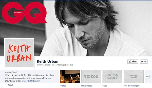 Keith Urban FAcebook