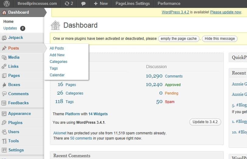 posting on WordPress