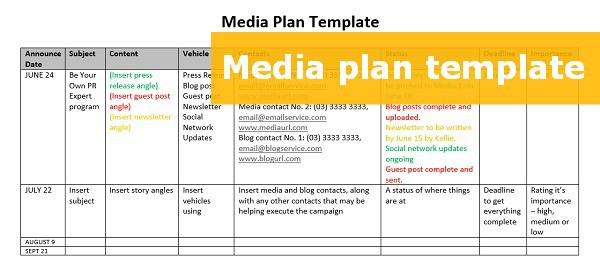 A free downloadable media plan template to step up your pr for Publicity plan template