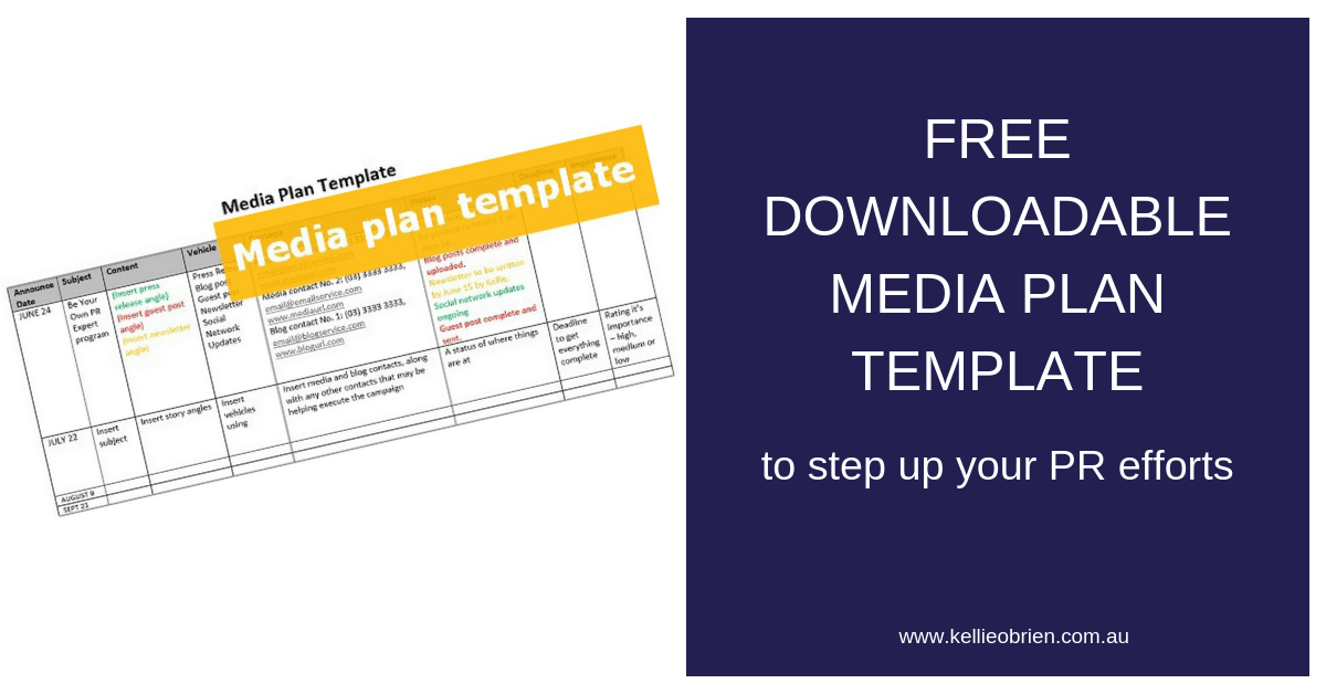 A Free Downloadable Media Plan Template Kellie Obrien Media