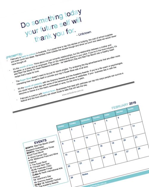 2016 Public Relations Calendar
